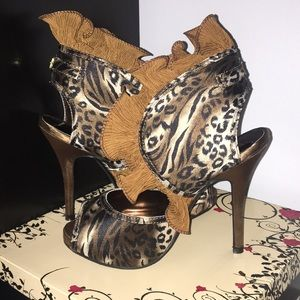 Leopard peep toe satin pumps